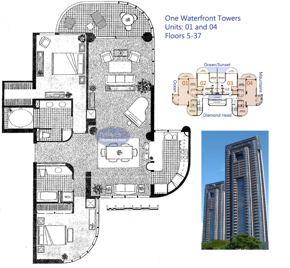 One waterfront towers honolulu hawaii condo by for Waterfront floor plans