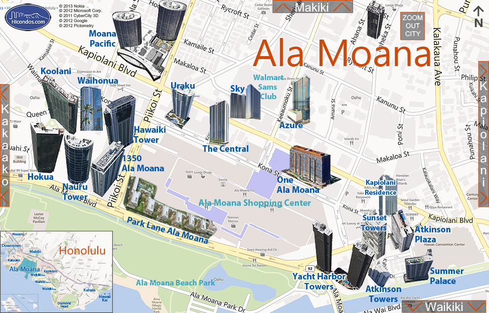 Ala Moana Condos: Honolulu, Hawaii Condo Map