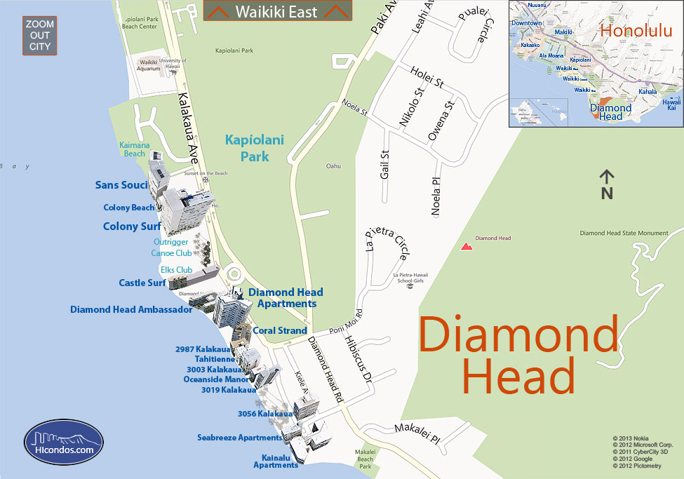 Diamond Head Condos: Honolulu, Hawaii Condo Map