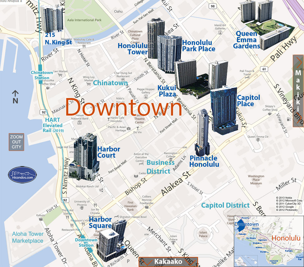 Downtown Condos: Honolulu, Hawaii Condo Map