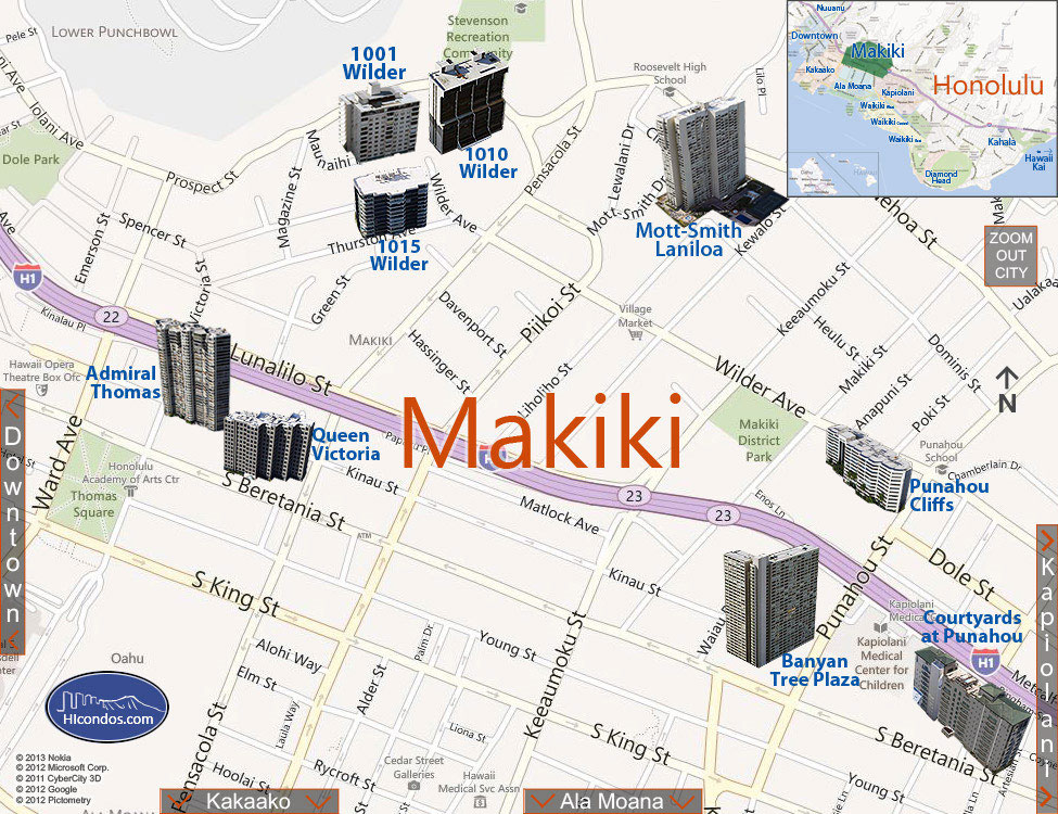Makiki Condos: Honolulu, Hawaii Condo Map