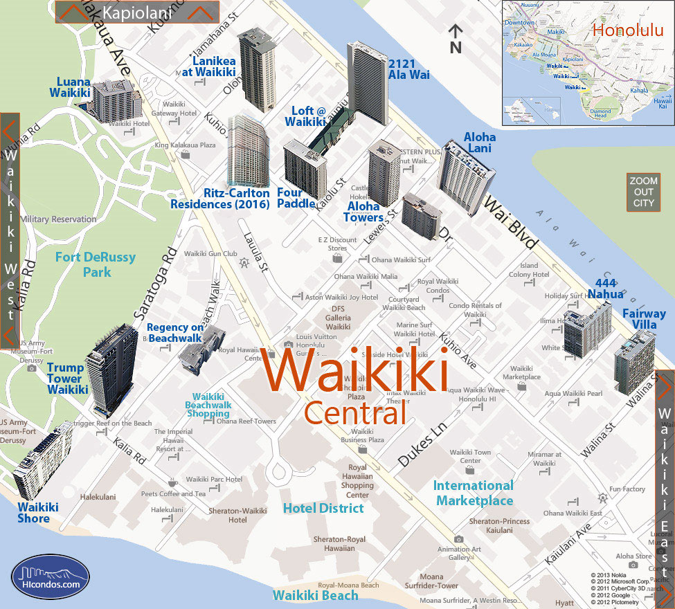 Waikiki - Central Condos: Honolulu, Hawaii Condo Map
