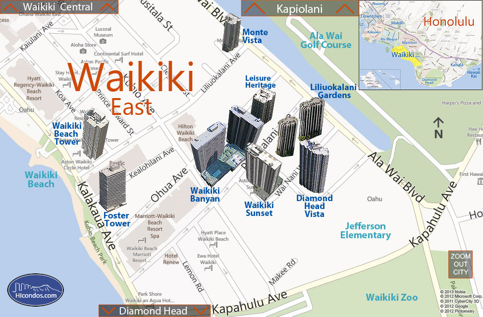 Waikiki - East Condos: Honolulu, Hawaii Condo Map