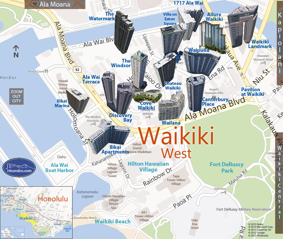 Waikiki - West Condos: Honolulu, Hawaii Condo Map